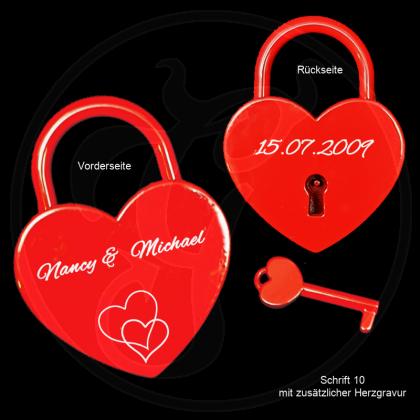 Liebesschloss - Herz - mit Schlüssel in rot mit individueller Gravur