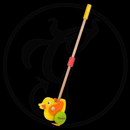 Baby Schiebe-Ente mit Stange und individueller Gravur
