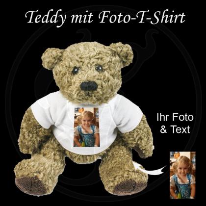 Plüschtier Teddy mit Ihrem Foto auf dem T-Shirt