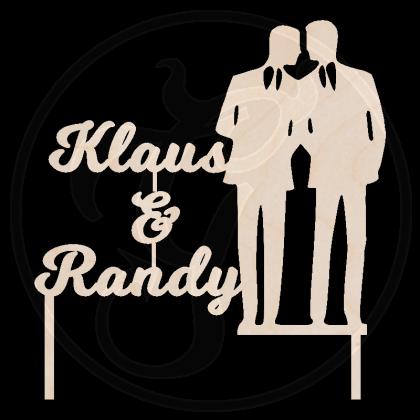 Caketopper - Gay Wedding - individuell angefertigt / Namen der Ehepartner