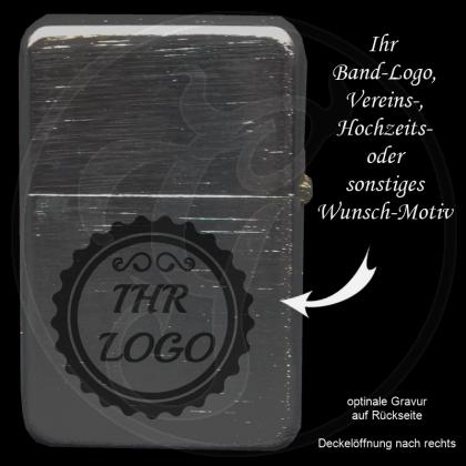 Benzin-Feuerzeug chrom gebürstet mit individueller Gravur / Ihr Logo
