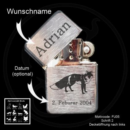 Benzin-Feuerzeug - Fuchs - chrom gebürstet mit Motivauswahl, Datum, Wunschtext und/oder Name