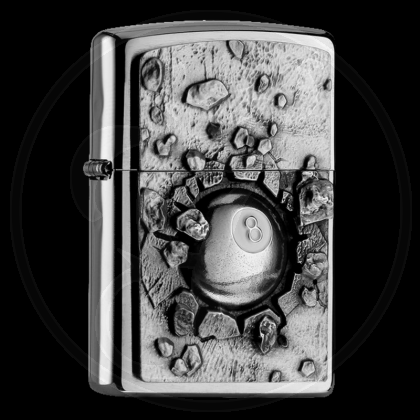Zippo-Feuerzeug - Emblem Eightball - optional mit individueller Gravur