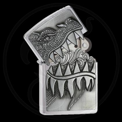 Zippo-Feuerzeug - Firebreathing Dragon - mit Deckel-Trick - Optional mit Schachtelgravur