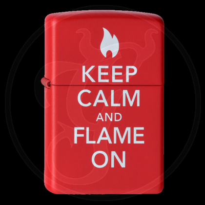 Zippo-Feuerzeug - Keep Calm and Flame on - Farbe: Rot - optional mit individueller Gravur