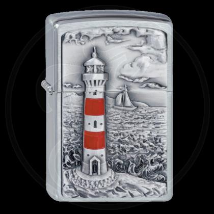 Zippo-Feuerzeug - Emblem Lighthouse - Optional mit Schachtelgravur