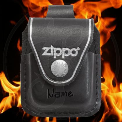 Zippo Tasche - schwarzes Leder mit Schlaufe - optional mit Ihrem Namen