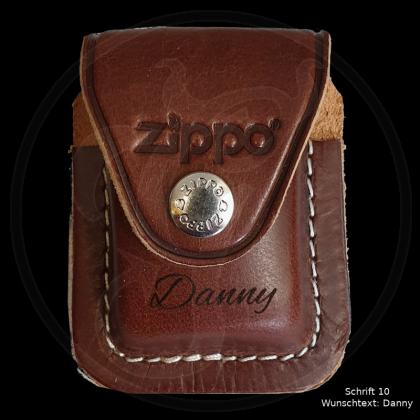 Zippo Tasche - braunes Leder mit Schlaufe - optional mit Ihrem Namen
