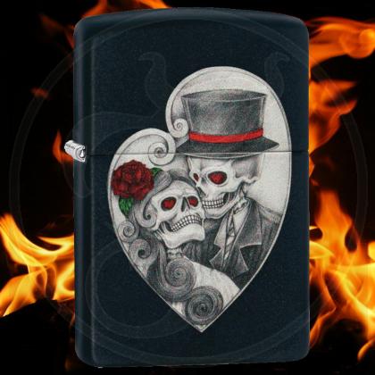 Zippo-Feuerzeug - Skull Couple - Farbe: Schwarz - optional mit individueller Gravur