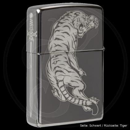 Zippo-Feuerzeug 3seitig gelasert - Dragon Sword Tiger - optional mit individueller Gravur