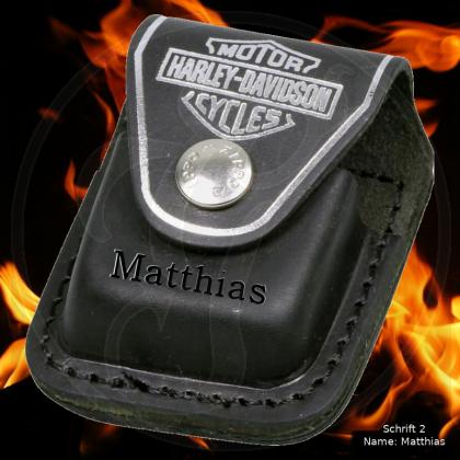 Zippo Tasche Harley Davidson - schwarzes Leder mit Schlaufe - optional mit Ihrem Namen