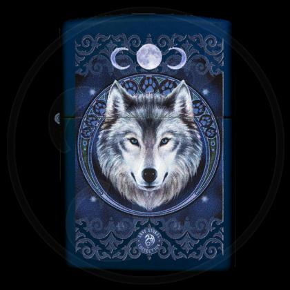 Zippo-Feuerzeug - Wolf Head von Anne Stokes - Farbe: blau - optional mit individueller Gravur