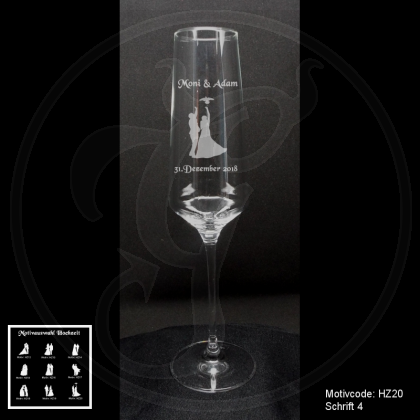Sektglas - Hochzeitspaar - mit Motivauswahl und individueller Gravur / Namen und Datum