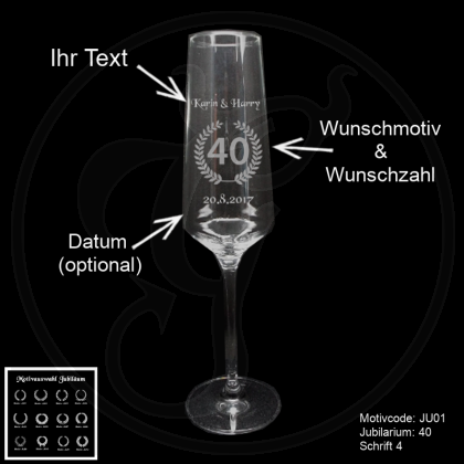 Sektglas - Jubiläum - z.B. zum Hochzeitstag mit Wunschmotiv, Jubiläumszahl, Name(n) und Datum