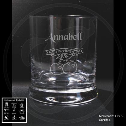 Whiskeyglas - Rockabella - mit Motivauswahl und individueller Gravur / Text
