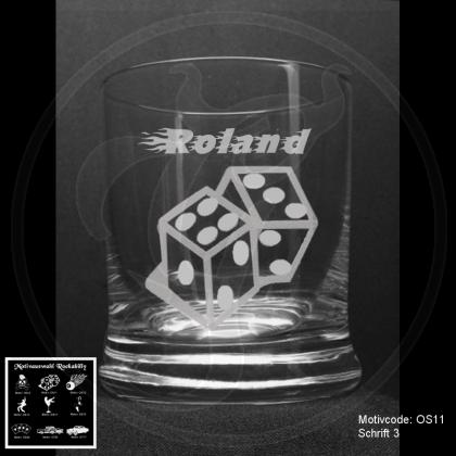 Whiskeyglas - Rockabilly - mit Wunschmotiv und individueller Gravur / Text