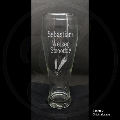 Weizenbierglas - Weizensmoothie - mit Namen / Gravur