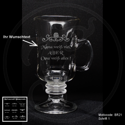 Tee-Glas - Blumenranke - mit individueller Gravur / Wunschtext
