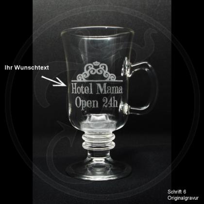 Tee-Glas - Krönchen-Schnörkel - mit individueller Gravur / Text