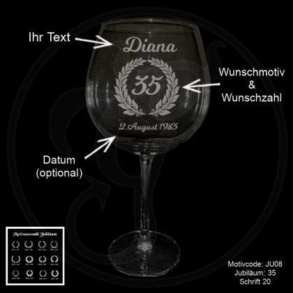 Rotweinglas - Jubiläum - mit Wunschmotiv, Jubiläumszahl, Name(n) und Datum