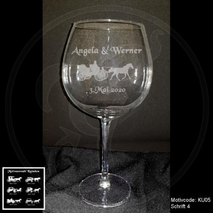 Rotweinglas - Kutsche mit Motivauswahl und individueller Gravur / Namen und Datum
