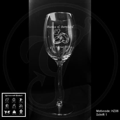 Weißweinglas - Hochzeit mit Motivauswahl und individueller Gravur / Namen und Datum