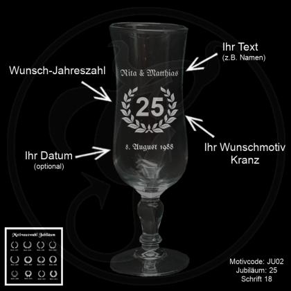 Sektglas Glamour - Jubiläum - mit Kranz-Wunschmotiv, Jubiläumszahl, Wunschtext und Datum (optional)