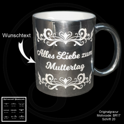 Silber Keramik-Tasse -Blumenranke - mit Motivauswahl und Ihrem Wunschtext