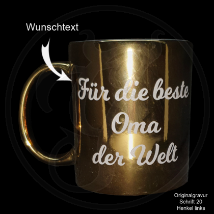 Goldene Keramik-Tasse mit Ihrem Spruch