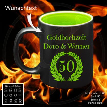 Tasse schwarz + grün - Jubiläum - mit Wunschmotiv, - text und Jubiläumszahl