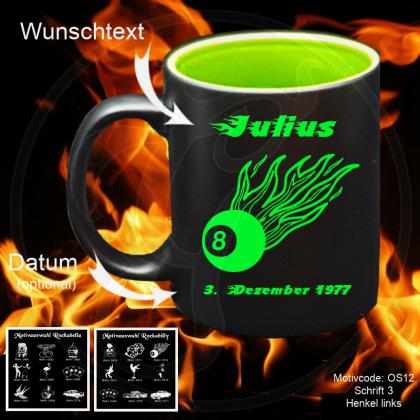 Tasse schwarz + grün - - Rockabilly / Rockabella - mit Motivauswahl und individueller Gravur / Name