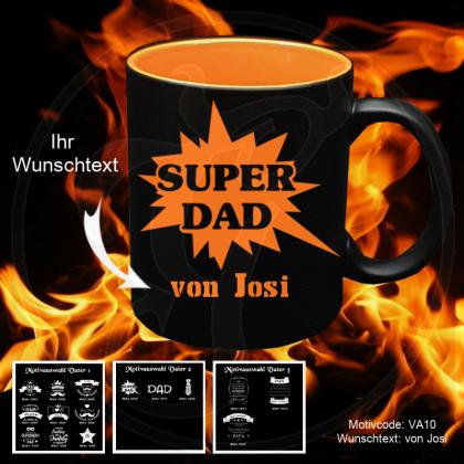 Tasse schwarz + orange - für deinen Vater mit Motivauswahl und individueller Gravur