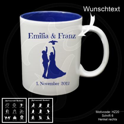 Tasse weiß + dunkelblau  - Hochzeit mit Motivauswahl und individueller Gravur / Name und Datum
