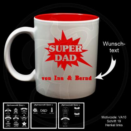 Tasse weiß + rot - für deinen Vater mit Motivauswahl und individueller Gravur