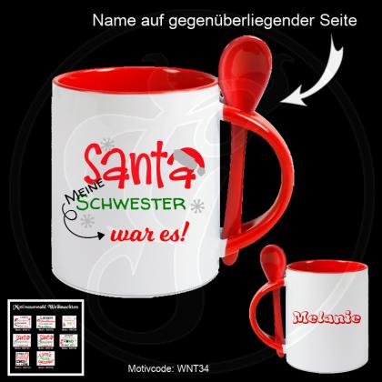 Weihnachtstasse mit Löffel in weiß/rot - Santa, ich war es nicht! - verschiedene Designs mit Wunschname