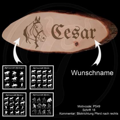Große Baumscheibe - Pferdemotiv - mit Motivauswahl und Wunschtext / -name