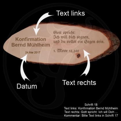 Große Baumscheibe - Andenken Kommunion /Konfirmation - mit individueller Gravur