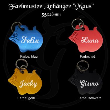 Katzenmarke - Maus - für Halsband mit beidseitiger Gravur - verschiedene Farben