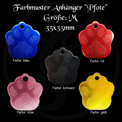 Hundemarke - Pfotenabdruck - für Halsband mit beidseitiger Gravur in verschiedenen Farben / Größe M