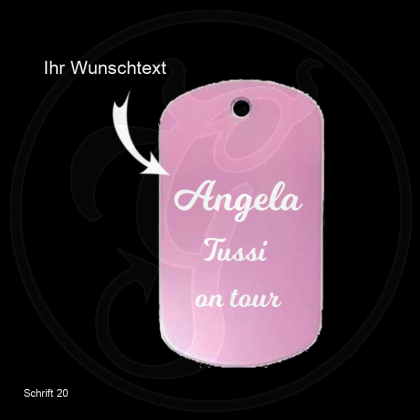 Dog Tag mit Wunschtext - Farbe: rosa