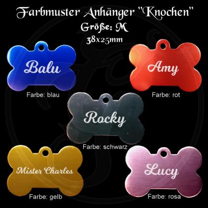 Hundemarke - Knochen - für Halsband mit beidseitiger Gravur in verschiedenen Farben / Größe M