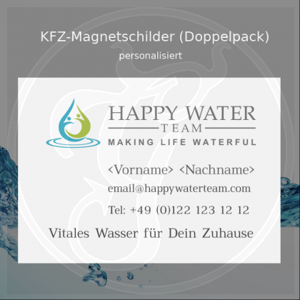 KFZ-Magnetschild (Doppelpack) - Design 1 Happy Water Team