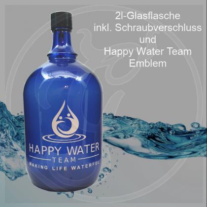 Glas-Flasche 2l – Farbe: blau - inkl. Kunststoff-Deckel mit Happy-Water-Team-Emblem (weißer Aufdruck)