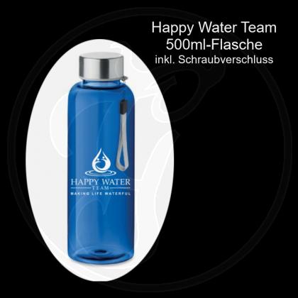 Tritan-Flasche 500ml mit Schraubdeckel und Trageschlaufe – Farbe: blau - mit Happy-Water-Team-Emblem (weißer Aufdruck)
