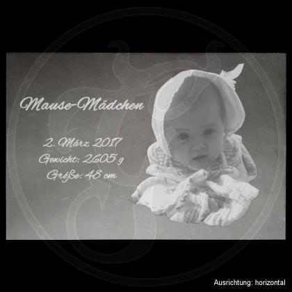 Geburtstafel auf Schiefer - Mausemädchen - XL mit Foto und Daten