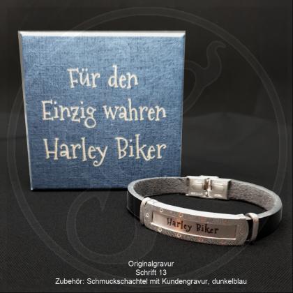 Herren Armband - Wild West - Leder und Edelstahl matt mit individueller Gravur / Text