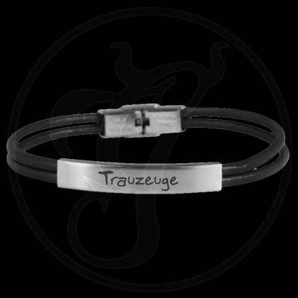 Armband Ladys Gentlemen Dragon Trauzeuge, Leder schwarz / Edelstahl mit individueller Gravur