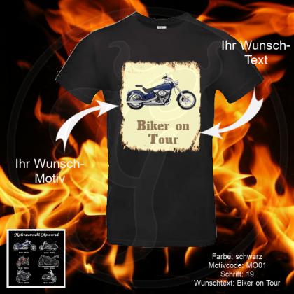 T-Shirt - High Quality Rundhals - Biker - Shirt-Farbe: schwarz oder weiß