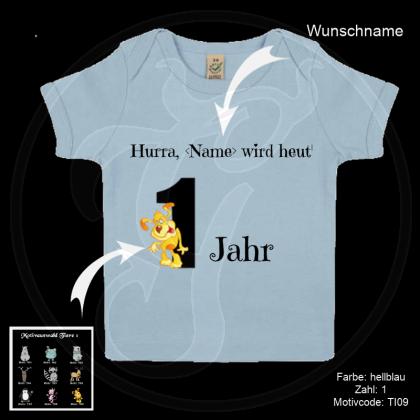 Baby T-Shirt Bio-Qualität - Geburtstag - Motiv und Zahl frei wählbar - Shirt-Farbe: babyrosa oder babyblau
