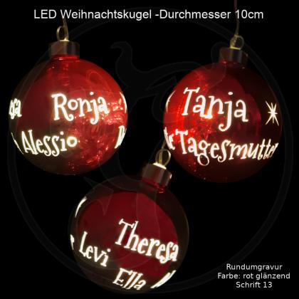 LED-Weihnachtskugel - 10cm - Rot glänzend - mit Motivauswahl und individueller Gravur / Text